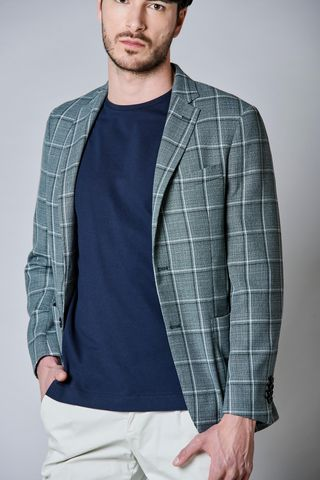 green checkered jacket cotton-linen slim Angelico