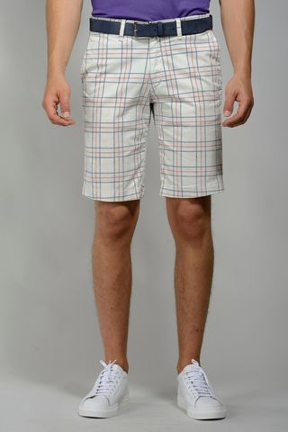 white checkered bermudas blu-red Angelico