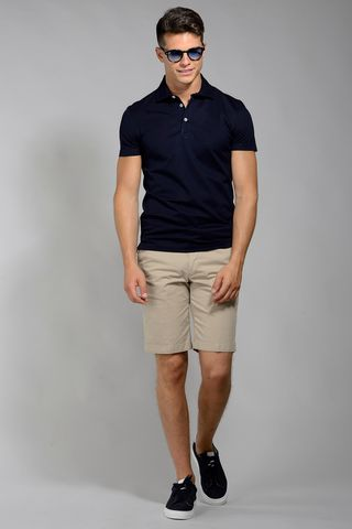 navy lisle polo piquet Angelico
