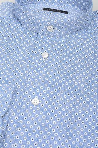 camicia coreana azzurra lino fantasia cerchi Angelico