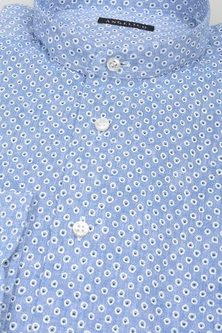 light blue korean shirt with dots Angelico