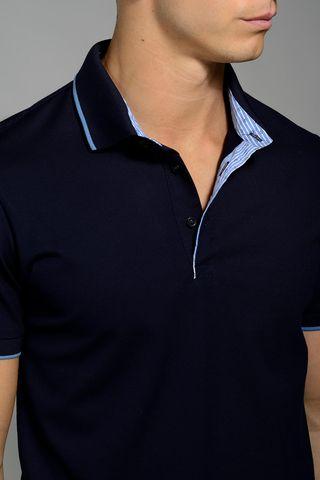 navy lisle polo blue border collar slim Angelico