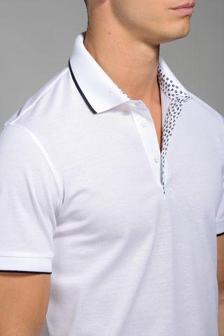 white lisle polo navy border collar slim Angelico