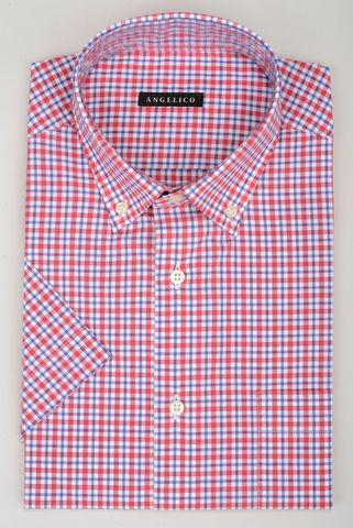 Camicia manica corta quadretto rosso blu bd Angelico