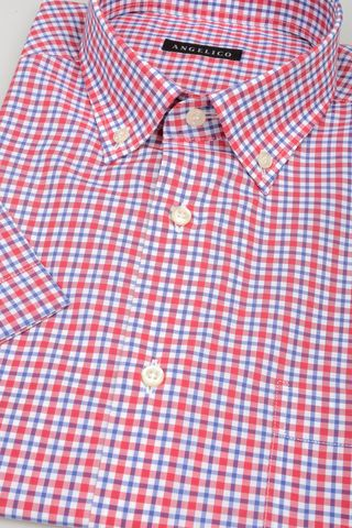 short sleeves shirt red-blue square bd Angelico