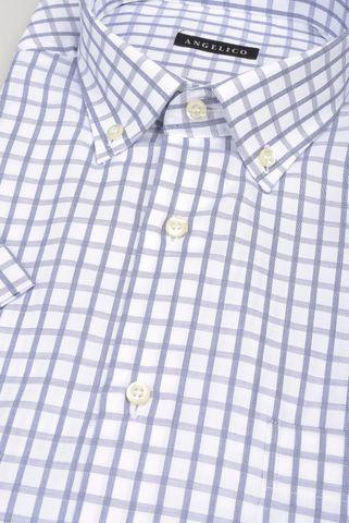 camicia manica corta bianca quadro avio bd Angelico