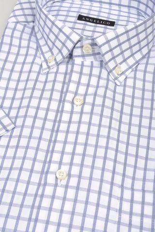 short sleeves shirt blue square bd Angelico