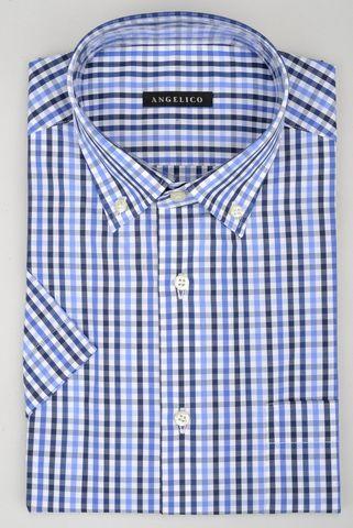 Camicia manica corta quadretto blu-azzurro bd Angelico