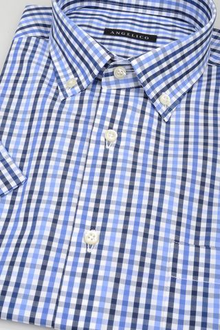 short sleeves shirt navy-blue square bd Angelico