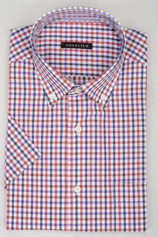 Camicia manica corta quadretto blu-rosso bd Angelico