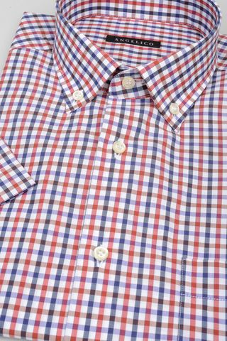 short sleeves shirt navy-red square bd Angelico