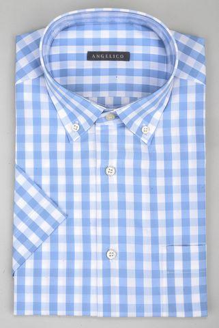 Camicia manica corta quadro azzurro bd Angelico