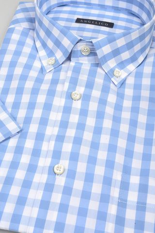 short sleeves shirt baby-blue squared bd Angelico