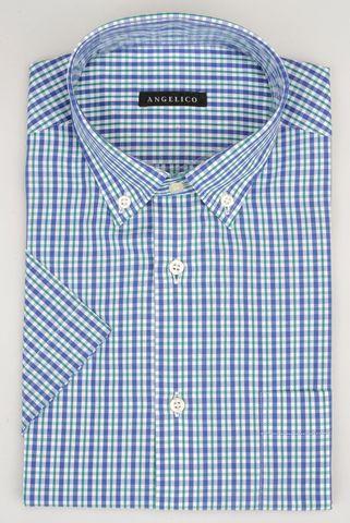 camicia manica corta blu-verde quadro bd Angelico