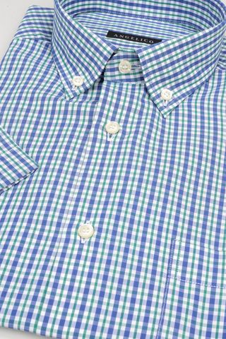 short sleeves shirt blue-green square bd Angelico