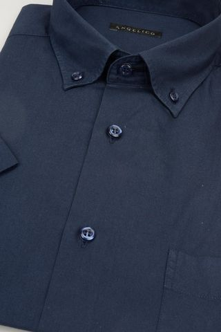 navy short sleeves shirt bd and pocket Angelico