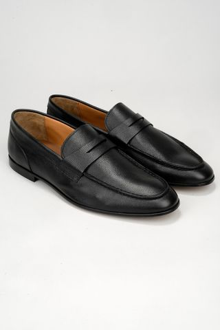 black calfskin leather moccasin Angelico