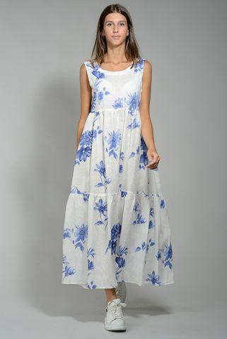 Abito bianco fiori blu lino sbracciato lungo Angelico