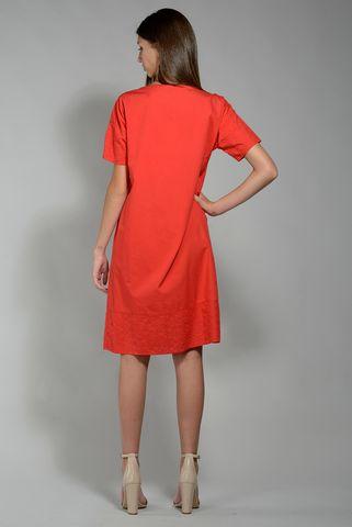 abito rosso inserti sangallo manica corta Angelico
