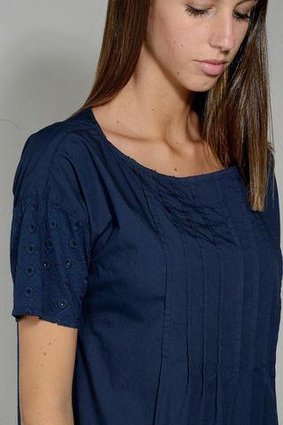 blue dress short sleeves sangallo inserts Angelico