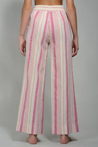 pantalone rosa-bianco rigato ampio rigato elastico Angelico