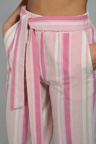 wide white-pink striped trousers Angelico