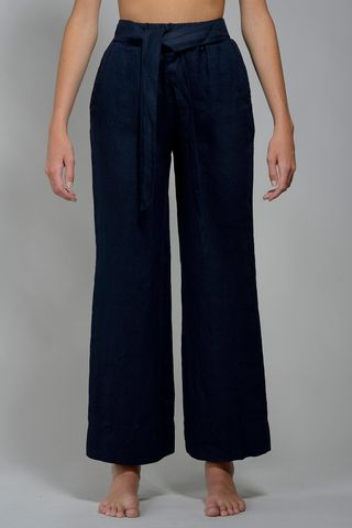 wide navy linen trousers Angelico