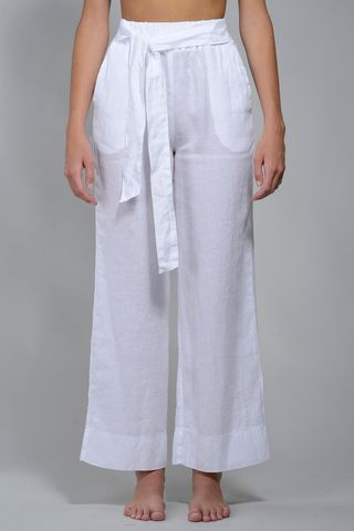 Wide white linen trousers Angelico