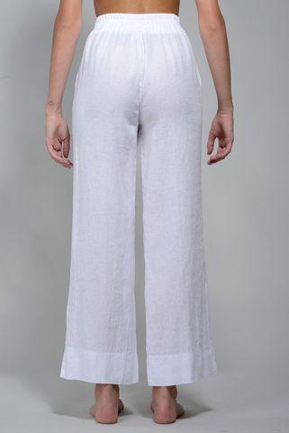 pantalone bianco ampio lino elastico Angelico