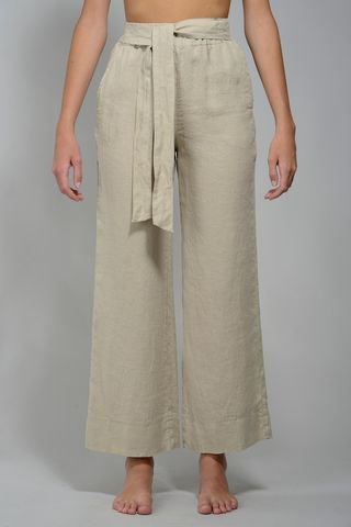 Wide natural linen trousers Angelico