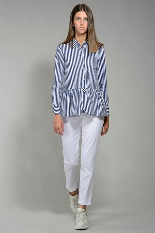 long blue striped shirt with flounce Angelico