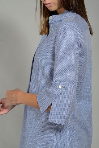 korean long blue woman shirt Angelico
