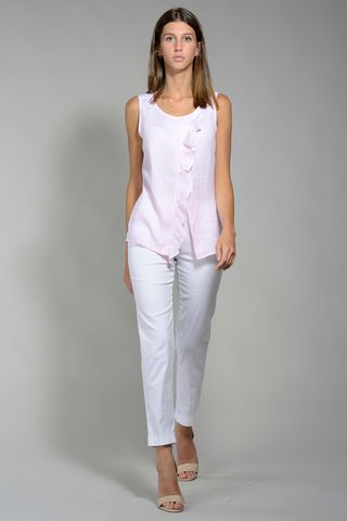 pink linen armholes shirt with ruffles Angelico