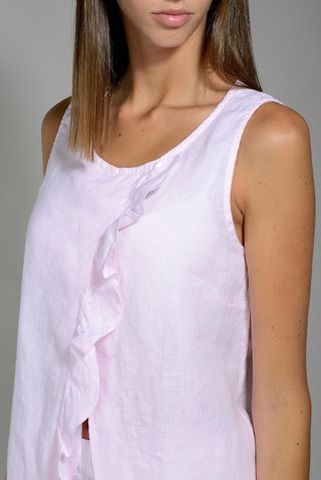 top rosa lino giromanica con rouche Angelico