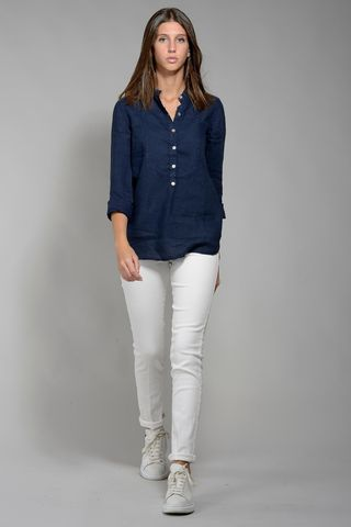 blue shirt woman korean linen Angelico