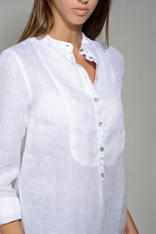 white shirt woman korean linen Angelico
