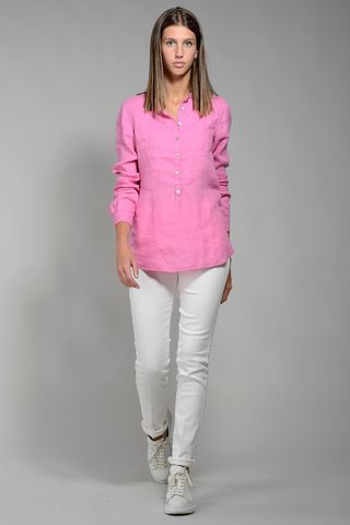 dark pink shirt woman korean linen Angelico