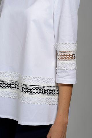 camicia bianca girocollo pizzo manica 3/4 Angelico