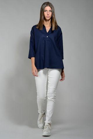 Camicia blu donna polo svasata Angelico