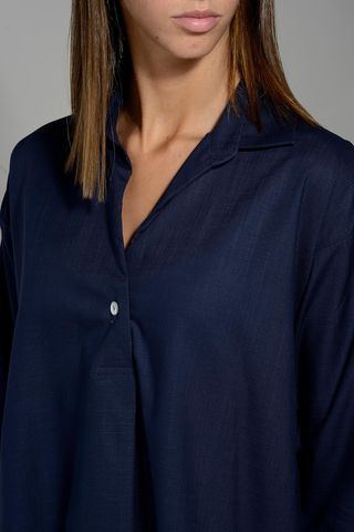 navy flared shirt with polo neck Angelico