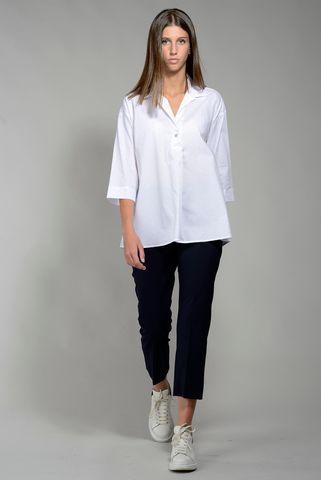 Camicia bianca donna svasata microfantasia Angelico