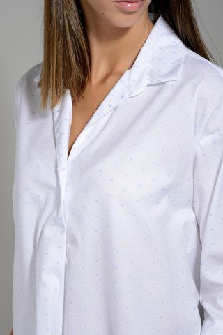 white flared shirt micropattern polo neck. Angelico