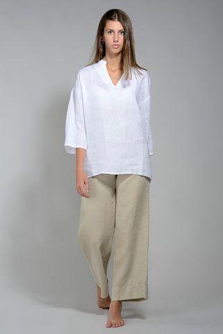Camicia donna lino bianca coreano v Angelico