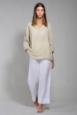 Camicia donna lino ecru coreano v Angelico