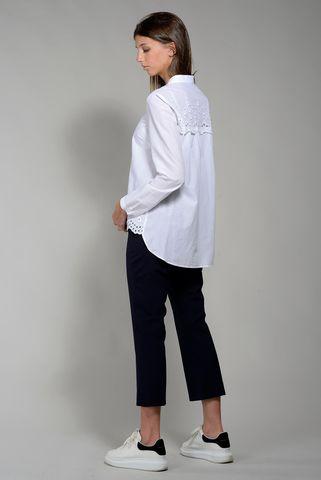 camicia bianca coreana con pizzo asimmetrica Angelico