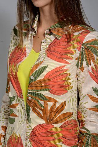 maxi shirt orange floral pattern Angelico