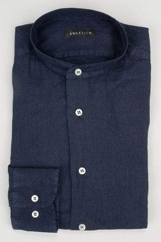 navy korean linen shirt Angelico