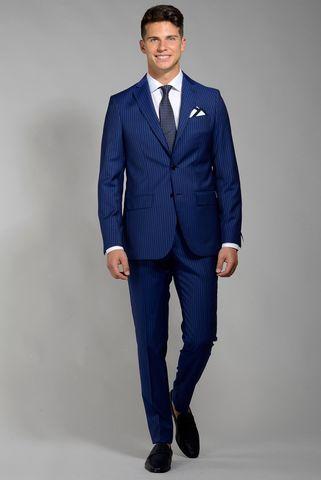 abito blu gessato tessuto cerruti slim lungo Angelico