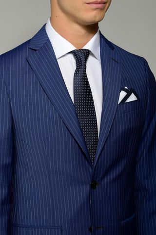 blue pinstriped suit flli cerruti slim long Angelico