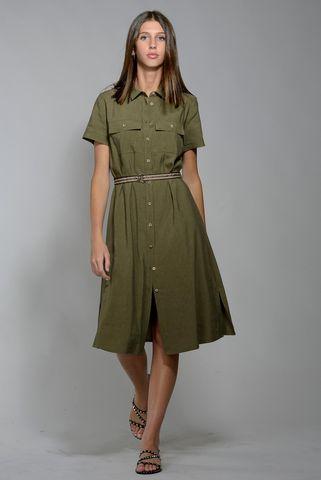 green midi shirt-dress short sleeves Angelico